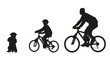 Father and kids on bike. Vector silhouette - 80423612