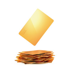 Golden bussines card on white background