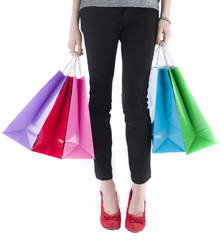 Woman Wearing Leggings Carrying Shopping Bags