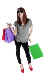 Happy Woman Holding Colored Shopping Bags