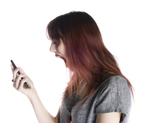Shocked Woman Facing at Mobile Phone on her Hand