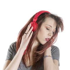 Sensual Woman Listening to Music Using Headphone