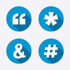 Quote, asterisk footnote icons. Hashtag symbol.