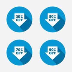 Sale arrow tag icons. Discount off symbols.