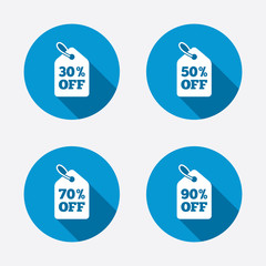 Sale price tag icons. Discount symbols.