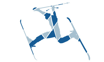 Action skier silhouette