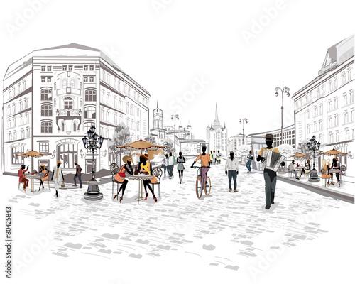 Seria widoków ulicznych z ludźmi na starym mieście