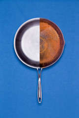 New and old rusted frying pan combined