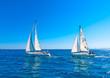 sailing boats during a regatta in Saronikos gulf in Greece - 80426407