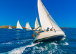sailing boats during a regatta in Saronikos gulf in Greece - 80426472