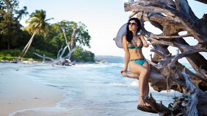 Beautiful woman in bikini and sunglasses is sitting on the snag