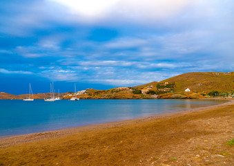 the beautiful gulf of Vourkari at Kea island in Greece
