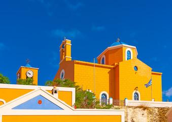 church at Korissia the main port of Kea island in Greece
