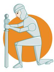 Warrior Kneeling Sword Rounded Background