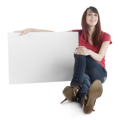 Smiling Woman Holding Empty White Cardboard