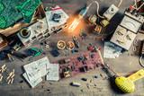 Vintage electronics work desk in school lab