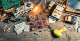 Vintage electronics workplace in laboratory - 80428073