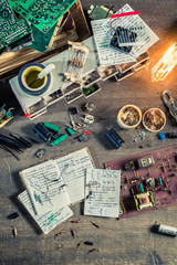 Vintage electronics work desk in laboratory