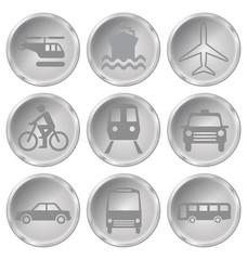 Monochrome transport related icon set