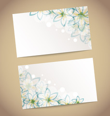 Two retro wedding cards with flower's