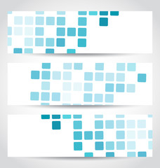 Set blue mosaic tile cards