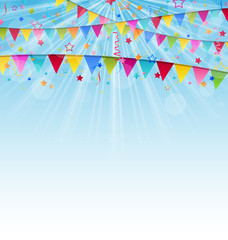 Holiday background with birthday flags and confetti