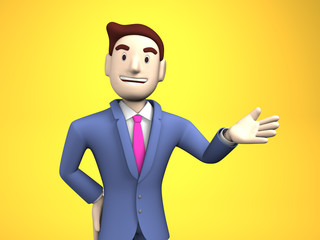 Waist Up Of Young Businessman On Yellow Background