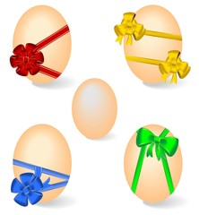 Realistic illustration of set by Easter eggs with bows