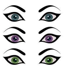 set female eyes isolated