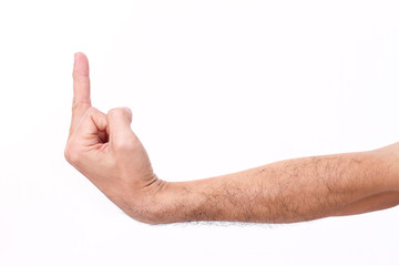 man's hand giving middle finger gesture, hairy arm