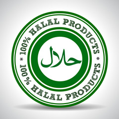 100% Halal Product  green Label, certified halal food seal