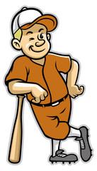 baseball player stand with a baseball bat