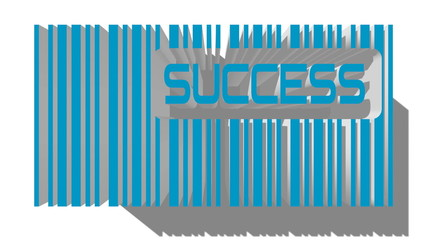blue 3D barcode and success text within