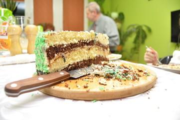 Birthday cake. Family gathering, celebration.