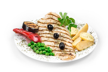 Fish fillet with vegetables.