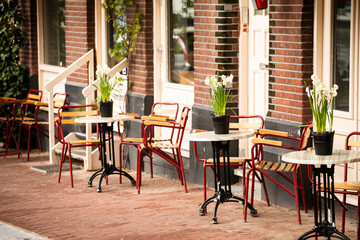 outdoor cafe in Amsterdam
