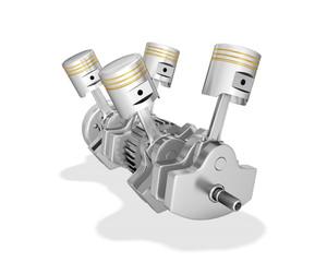 V4 engine pistons  ,on white background