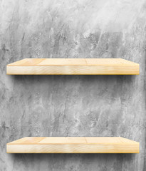 Empty Wooden Table top and shelf at concrete wall,Template mock