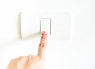 female Finger press on light button