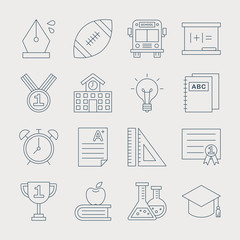 School line icon set