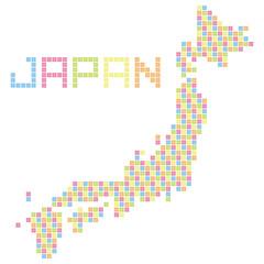日本ドット地図(カラフル)