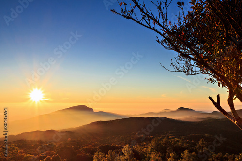 Keuken foto achterwand Heuvel Sunrise at Doi Inthanon, Chiang Mai Thailand