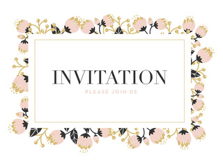 Invitation card with a frame made of flowers and gold border.