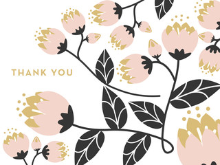 Thank you note with pink flowers on white background.