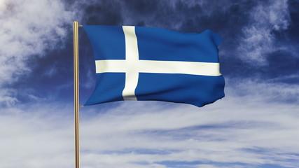 Shetland flag waving in the wind. Green screen, alpha matte