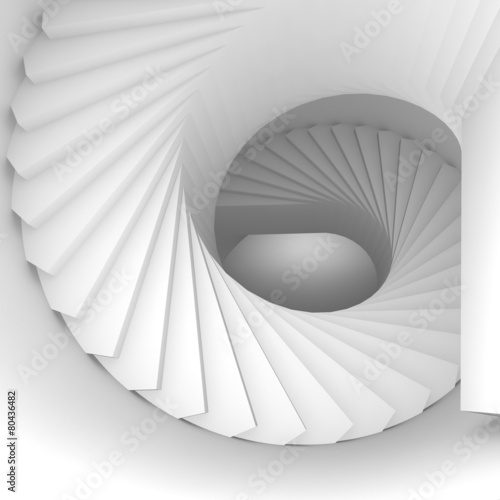 Abstract white 3d spiral interior perspective with stairs