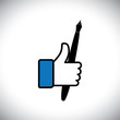 like hand symbols of thumbs up & pen - writing love vector icon