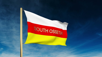 South Ossetia flag slider style with title. Waving in the wind