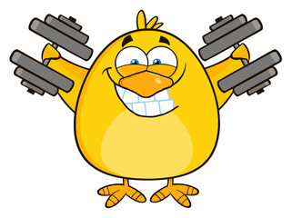 Smiling Yellow Chick Character Training With Dumbbells