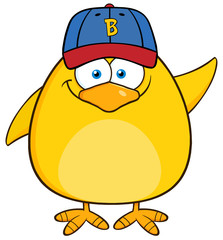 Smiling Yellow Chick Character With Baseball Hat Waving